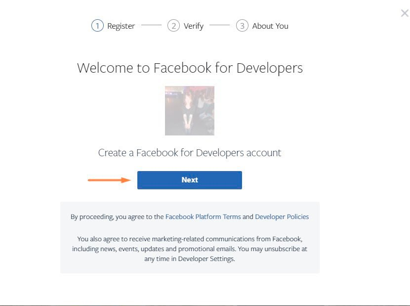 Facebook Dveloper form