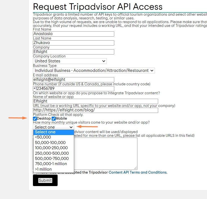 How to fill Tripadvisor partnership application