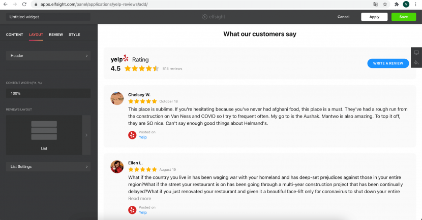 how to integrate Yelp with your website