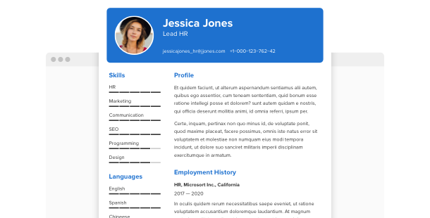 Resume<br>widget for website