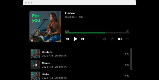 Spotify player widget for website