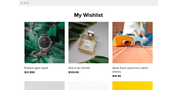Wishlist Widget <br> for website