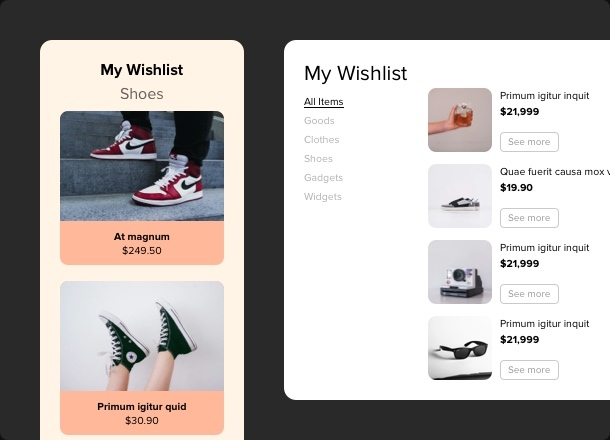 Well-organized and stylish wishlists for any online store