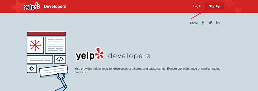 Yelp Dveloper API portal