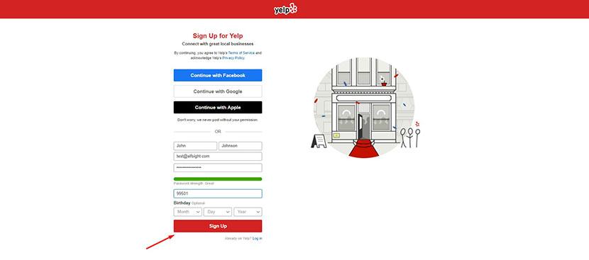 Sign up on Yelp Dveloper API