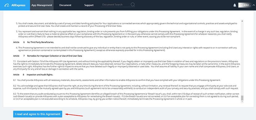 Aliexpress developers agreement