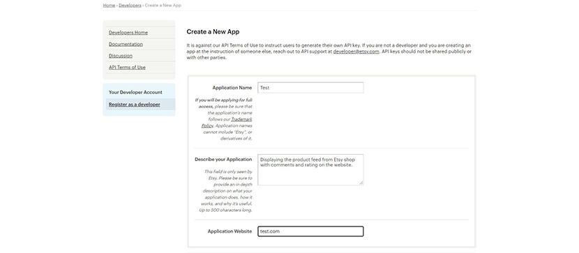 Create Etsy API app