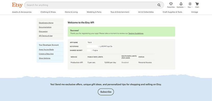 Etsy API Key