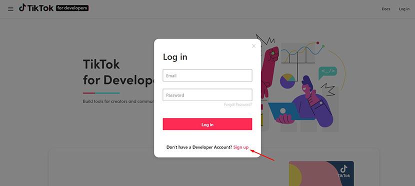 TikTok developer account registration