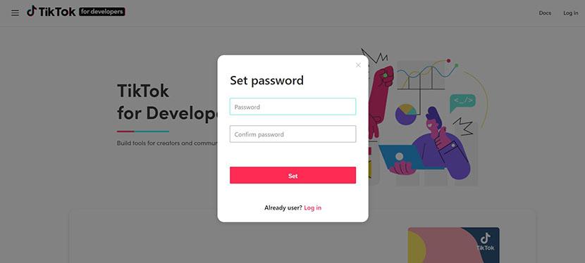 TikTok password setting
