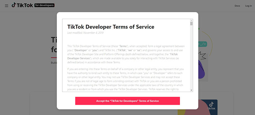 TikTok developer Terms and Conditions