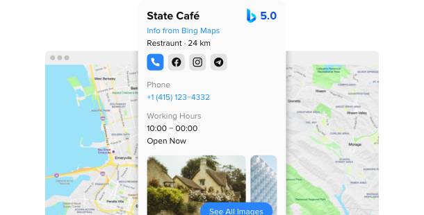 Bing Maps <br>widget for website