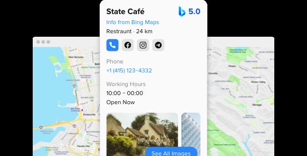 Bing Maps <br>widget for website