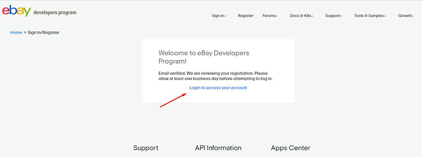 eBay developers account