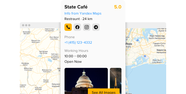Yandex Maps <br>widget for website