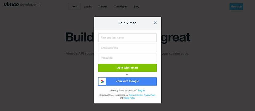 Vimeo developer account