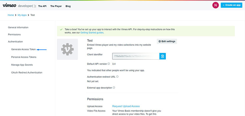 vimeo API authentication