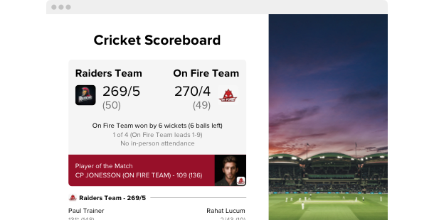 Cricket Scoreboard <br>widget for website