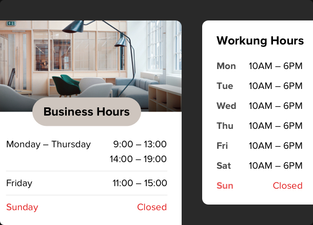 Opening hours to your website in 1-2-3!