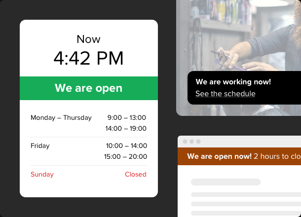 Create an interactive widget for business hours