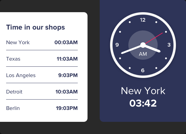 Display a clock depending on your time zone